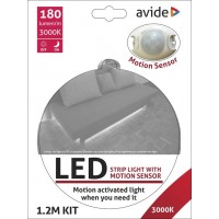 LED STRIP WARM WIT 1.2M 36 LEDS ZELFKLEVEND MET PIR EN 12VDCADAPTER