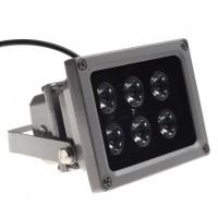 INFRAROOD SCHIJNWERPER 12V 3.6W 6 LEDS 45GRD MET DONKER SENSOR