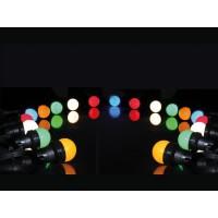 FEESTVERLICHTING LED 11M MET 20X LED E27 0.5W LAMP IN DIVERSE KLEUREN IP44