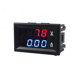 PANEELMETER LED ROOD/BLAUW 0-10A EN 0-100VDC