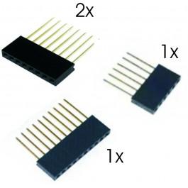 ARDUINO CONNECTOR KIT 1 X 10P, 2 X 8P, 1 X 6P. 15MM PENNEN
