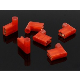6.3MM FEMALE HAAKS 10 STUKS ROOD NYLON GEISOLEERD