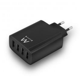 VIERVOUDIGE USB-LADER 5.4A ZWART