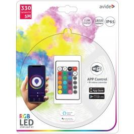 LED STRIP RGB 5M 150 LEDS IP65 ZELFKLEVEND INCL. 12VDC ADAPTER EN WIFI CONTROLLER MET AFSTANDBEDIENING