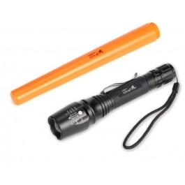 LED ZAKLAMP CREE XM-L2 1200LM 2X18650 ZWART MET ORANJE KEGEL25CM INCLUSIEF 2 X 18650 EN LADER