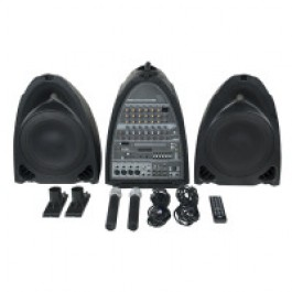 MOBILE ENTERTAINER SET 2 X 150W MET 2 X DRAADLOZE MICROFOON/CD/DVD PLAYER EN AM/FM TUNER
