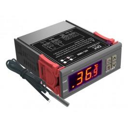 DIGITALE LED THERMOSTAAT MET EXTERNE SENSOR -50C/+99C 12-72VDC 2 RELAIS UITGANGEN 10A COOL EN HEAT