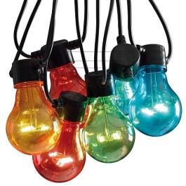 FEESTVERLICHTING LED 14,5M MET 10X LED LAMPEN GEKLEURD IP44MET 24V TRAFO
