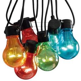 FEESTVERLICHTING LED 19,5M MET 20X LED LAMPEN GEKLEURD IP44MET 24V TRAFO