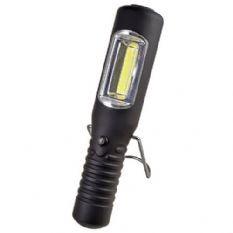 LEDZAKLAMP OPLAADBAR 3W COB LED + POWERLED / MET STANDAARD EN OPHANGHAAK / 230VAC EN 12VDC LADER