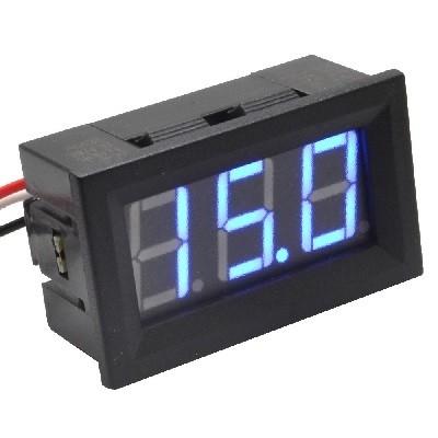 PANEELMETER LED BLAUW 0-100VDC 3 DIGIT 3 DRAADS