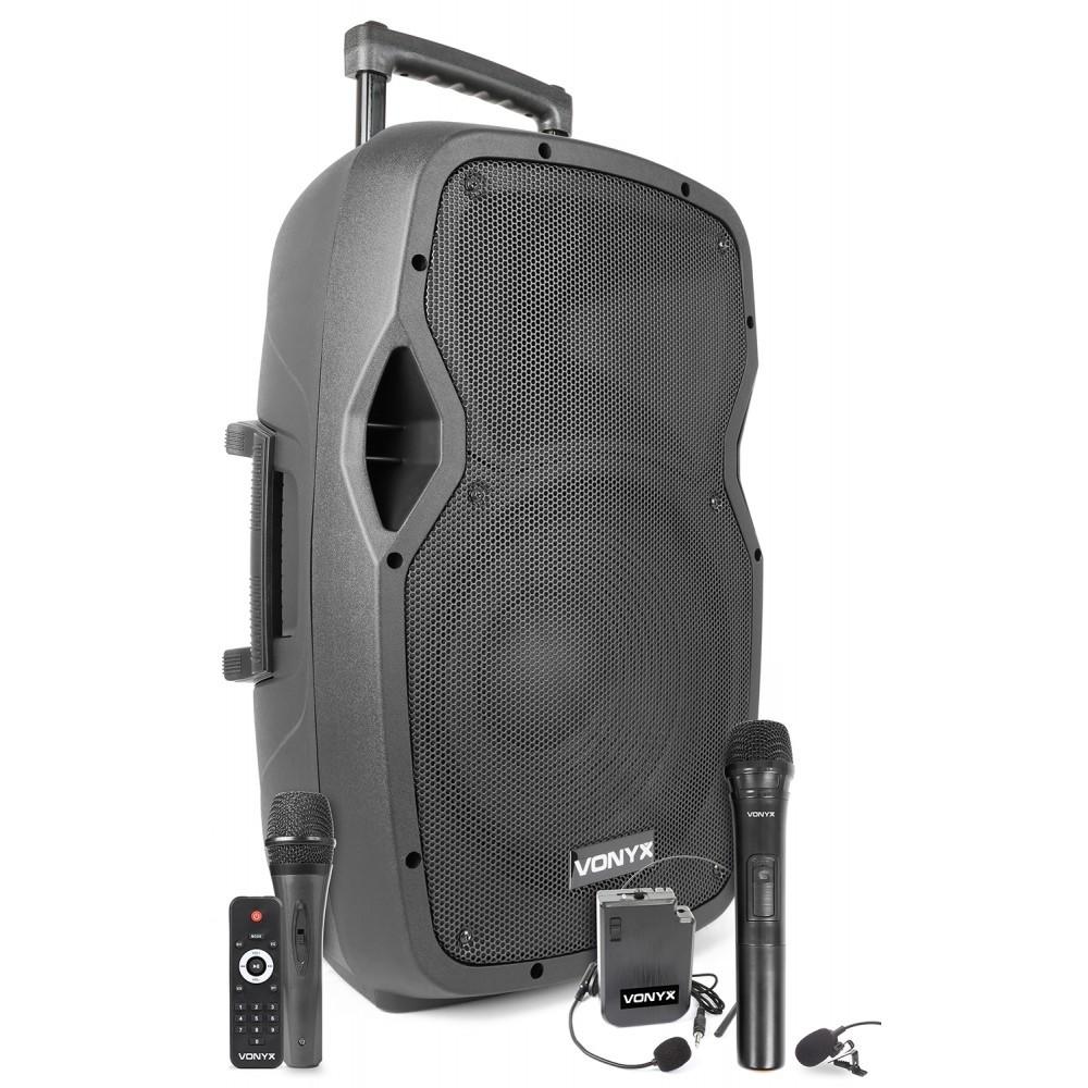 PORTABLE AUDIOSYSTEEM 12'' 1 X DRAADLOZE MICROFOON EN 1 X BODY PACK EN USB MP3 PLAYER MET ACCU