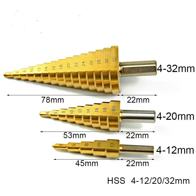 HSS STAPPENBOOR, TRAPEZIUM 3 DELIG  4-12MM, 4-20MM EN 4-32MM
