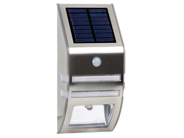 SOLAR LEDWANDLAMP IN ROESTVRIJSTAAL + PIR 0.5 W