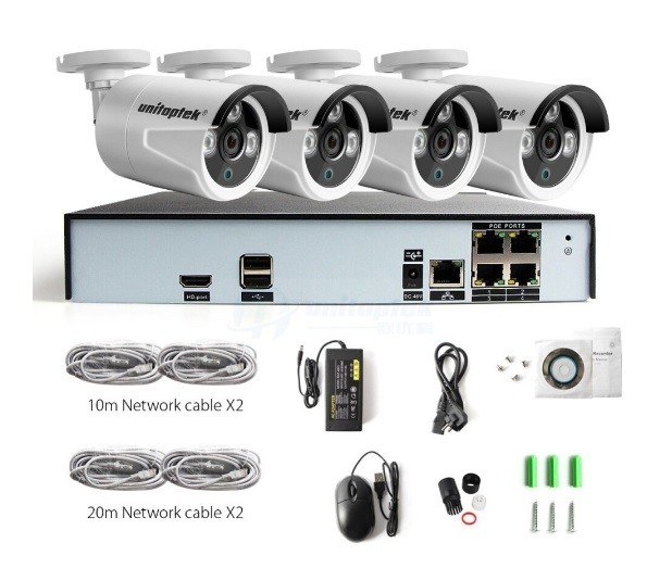 BEWAKINGS SYSTEEM RECORDER FULL HD + 4 X 4MP CAMERA'S POE +KABELS EN VOEDING