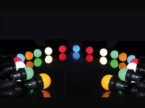 FEESTVERLICHTING LED 11,5M MET 20X LED E27 0.5W LAMP IN DIVERSE KLEUREN IP44