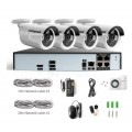 BEWAKINGS SYSTEEM RECORDER FULL HD + 4 X 4MP CAMERA'S POE +KABELS EN VOEDING